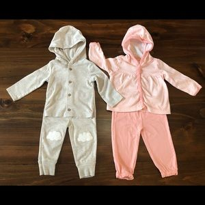Carter's 2 outfit hooded joggers sets bundle